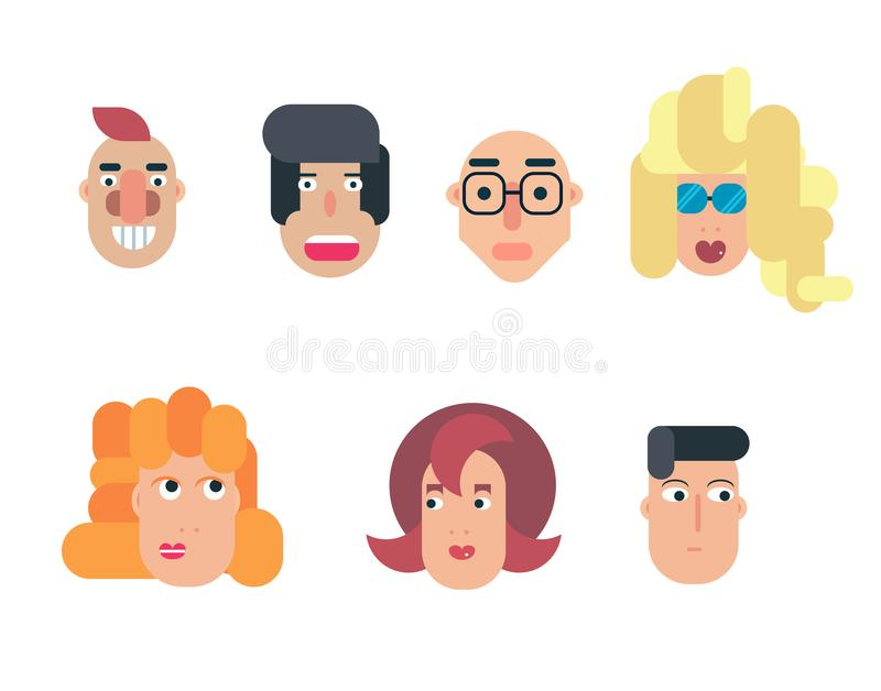 Flat vector characters. Vector avatars with eyes. Smiling happy people. Happy emotions. Vector portraits. royalty free illustration