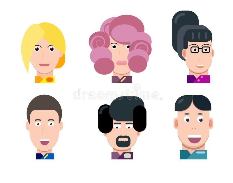 Flat vector characters portrait set. Vector avatars. Smiling happy people. Happy emotions. Vector portraits. royalty free illustration