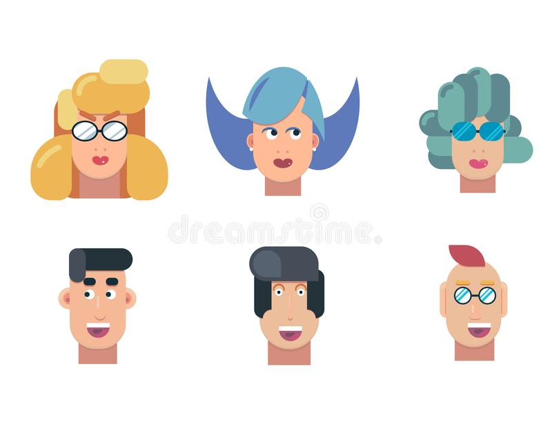 Flat vector characters portrait set. Vector avatars. Smiling happy people. Happy emotions. Vector portraits. stock illustration