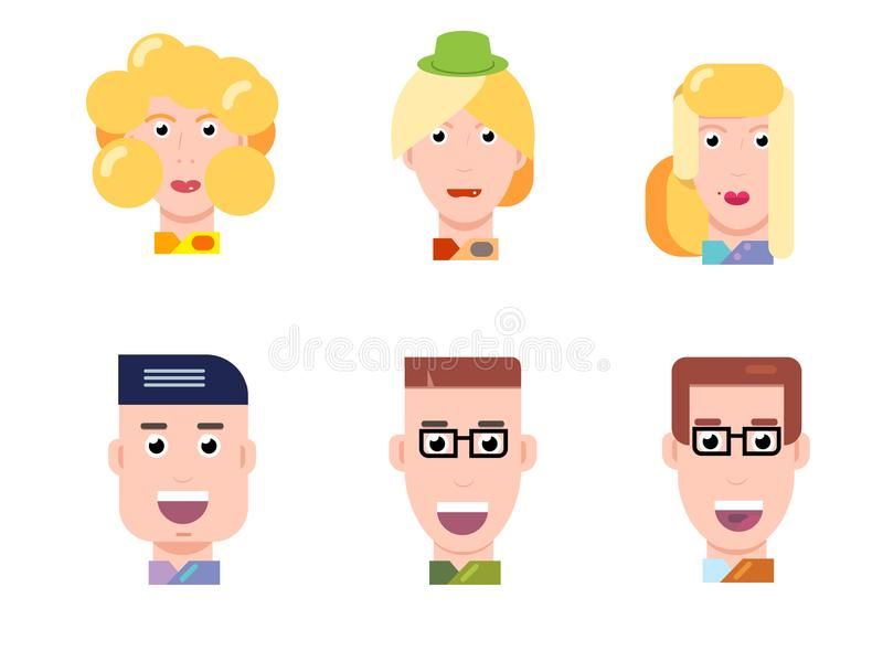 Flat vector characters portrait set. Vector avatars. Smiling happy people. Happy emotions. Vector portraits. vector illustration