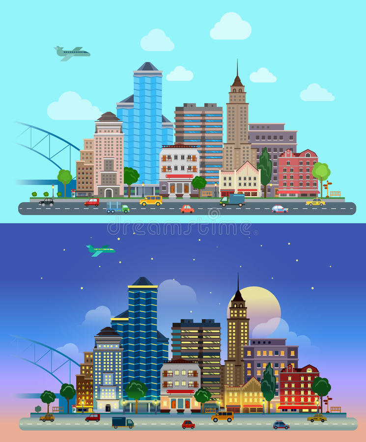 Flat vector city day and night: road, street, skyscrapers. Flat cartoon city set day and night. Road highway avenue transport street traffic before line of royalty free illustration