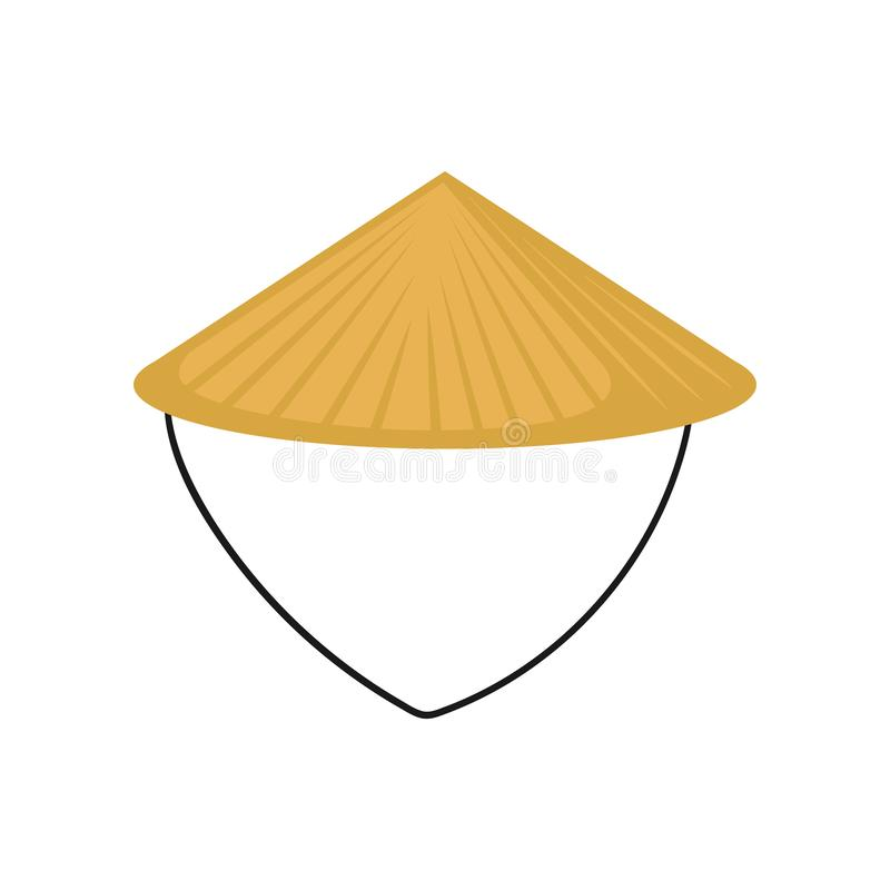 Flat vector of classic Asian conical hat made of straw. Traditional Chinese or Vietnamese headdress. Farmer s headwear. Icon of classic Asian conical hat made of royalty free illustration