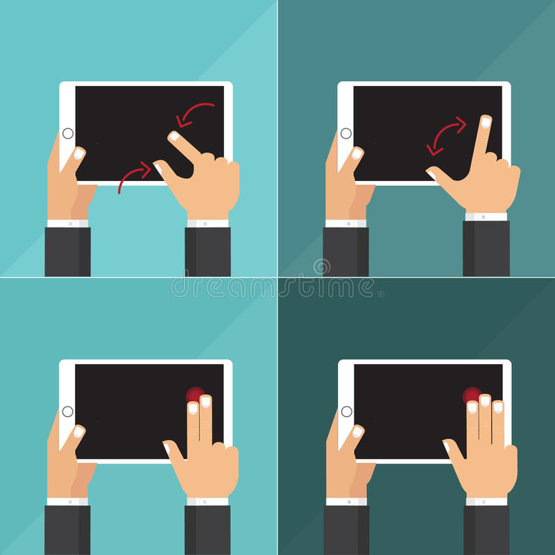 Flat vector collection of tablets with hands holding and touching screen. stock image