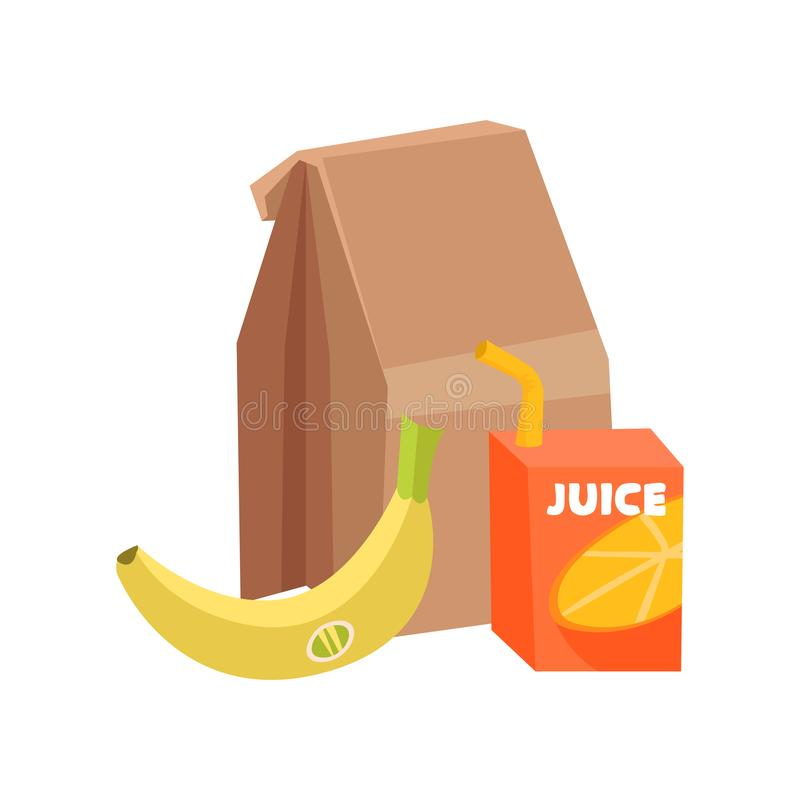 Flat vector composition of school lunch. Paper bag, ripe banana and box of juice with drinking straw. Healthy eating vector illustration