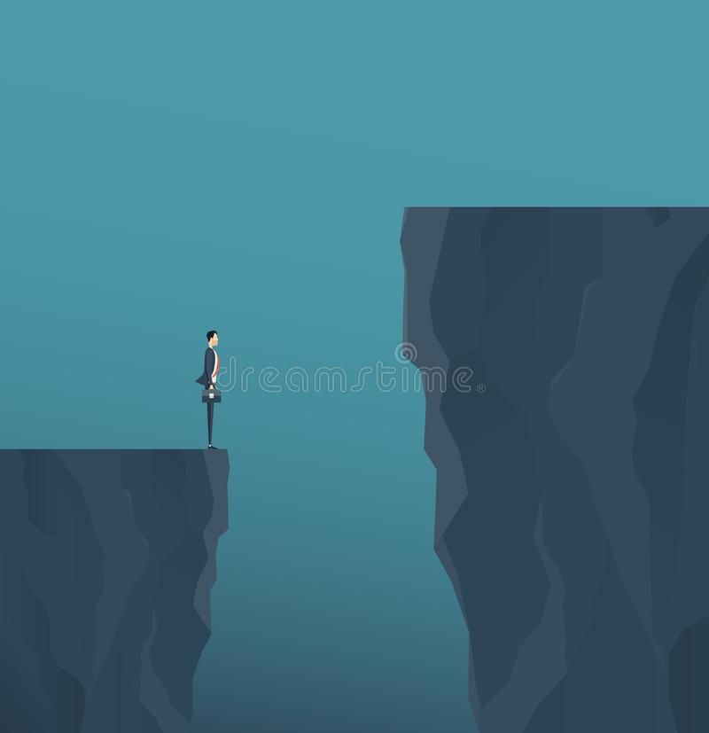 Flat vector concept businessman standing on mountain clif vector illustration