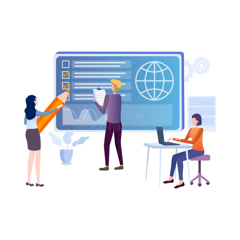 Flat vector concept of online exam, questionnaire form, online education, survey, internet quiz. royalty free stock images