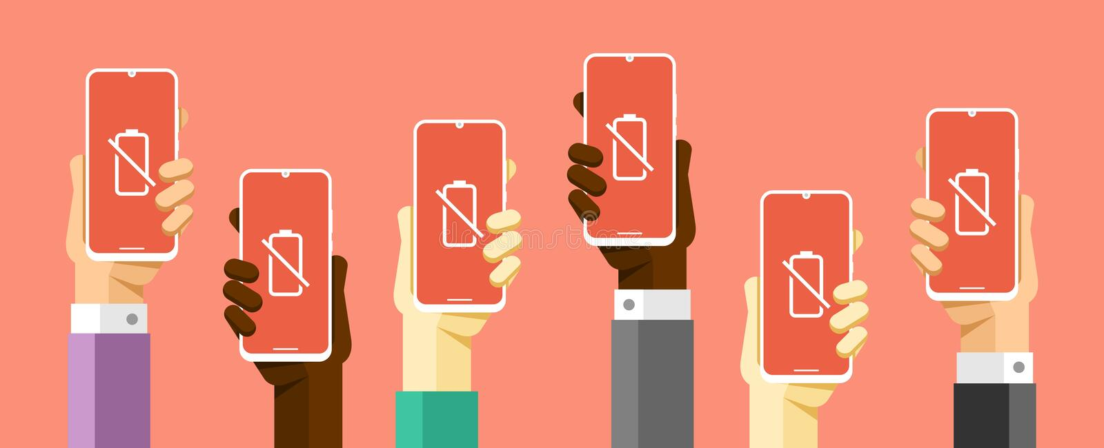 Smartphone mockup in human hand. Low battery power. Charging. Vector flat colorful technology illustration vector illustration