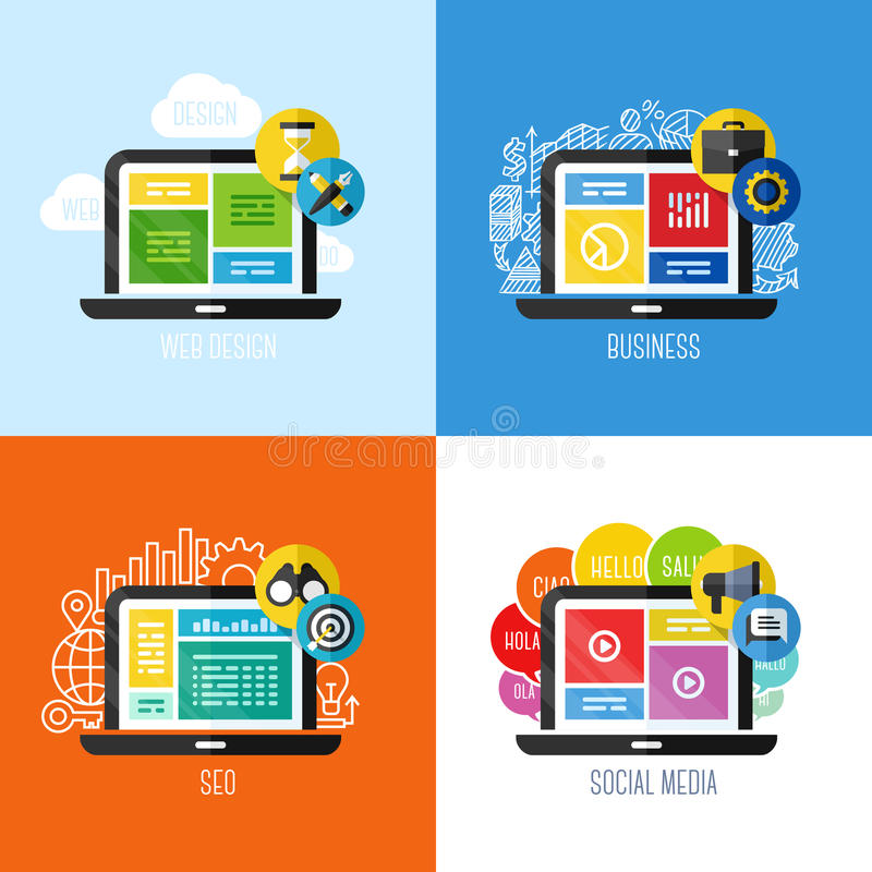 Flat vector concepts of web design, business, social media, SEO stock illustration
