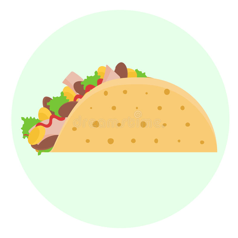 Flat vector delicious tacos royalty free illustration