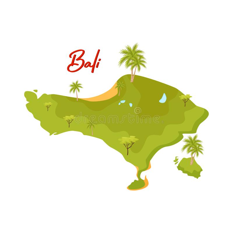 Flat vector design of Bali map. Green island with palm trees and sand beaches. Element for travel postcard royalty free illustration
