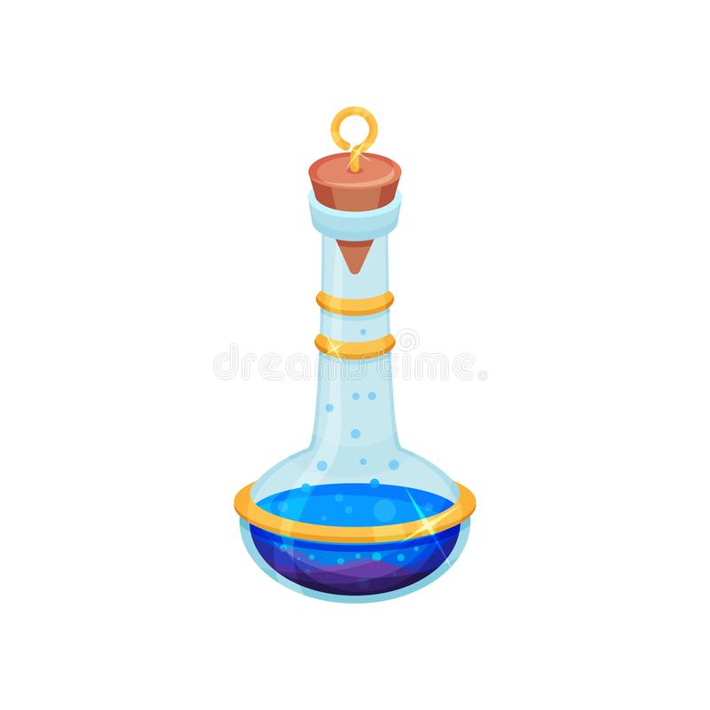 Flat vector design of bottle with bright blue potion. Glass flask with lid. Toxic liquid. Magic elixir. Game icon stock illustration