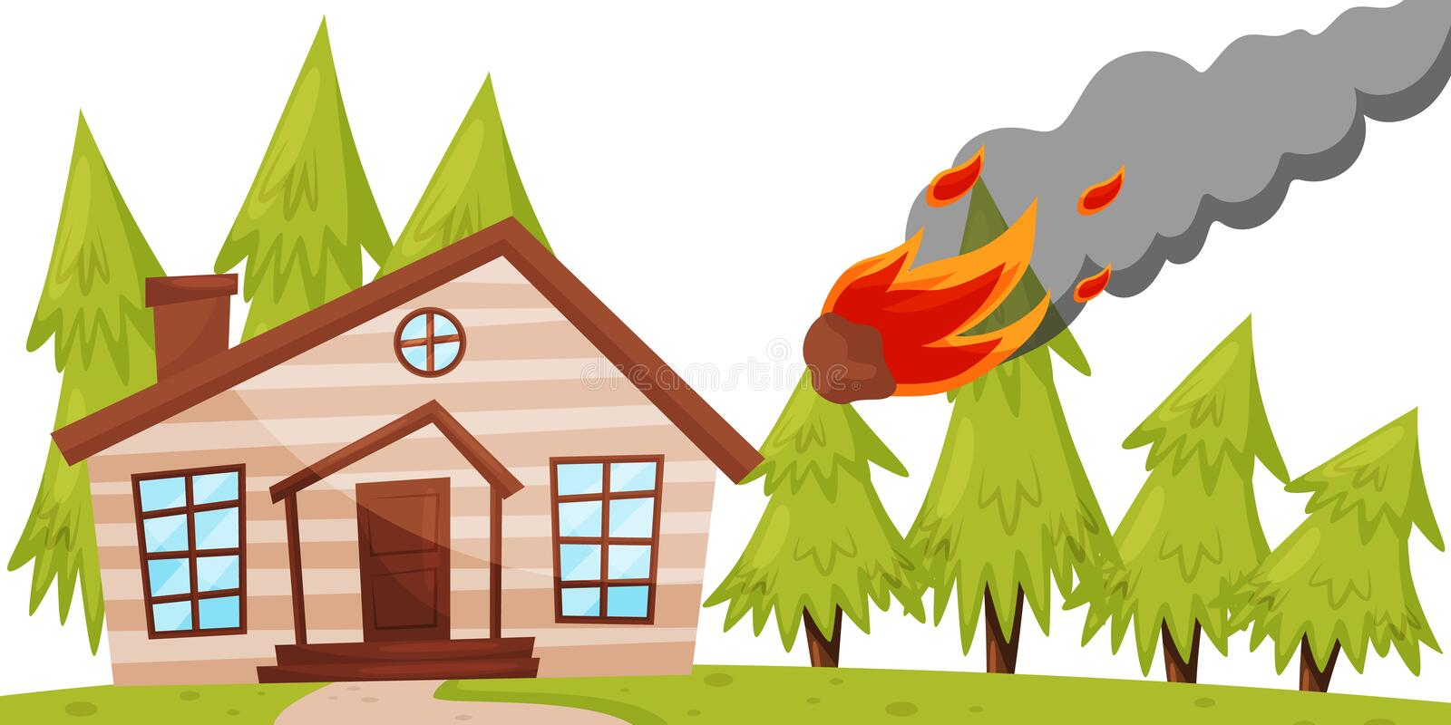 Flat vector design of flaming meteorite falling on the house, green fir trees on background. Natural disaster royalty free illustration