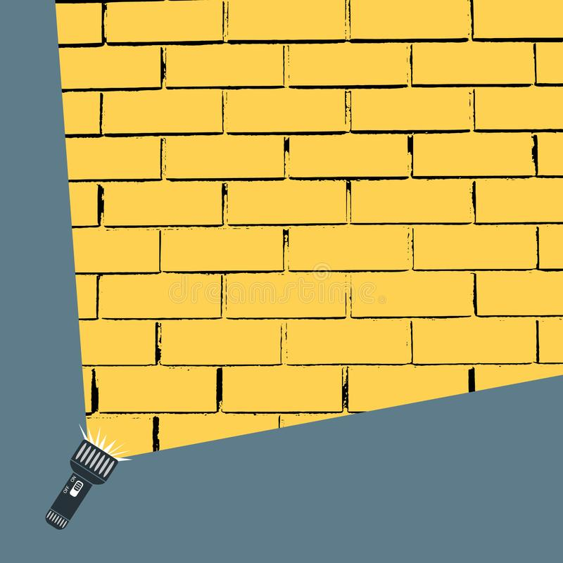 Flat vector design of hand flashlight and projection round, yellow light beam on on brick wall. Illustration for your design. vector illustration