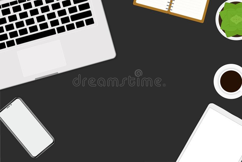 flat vector design illustration of office and workspace. Top view of desk with laptop, digital devices and tablet vector illustration