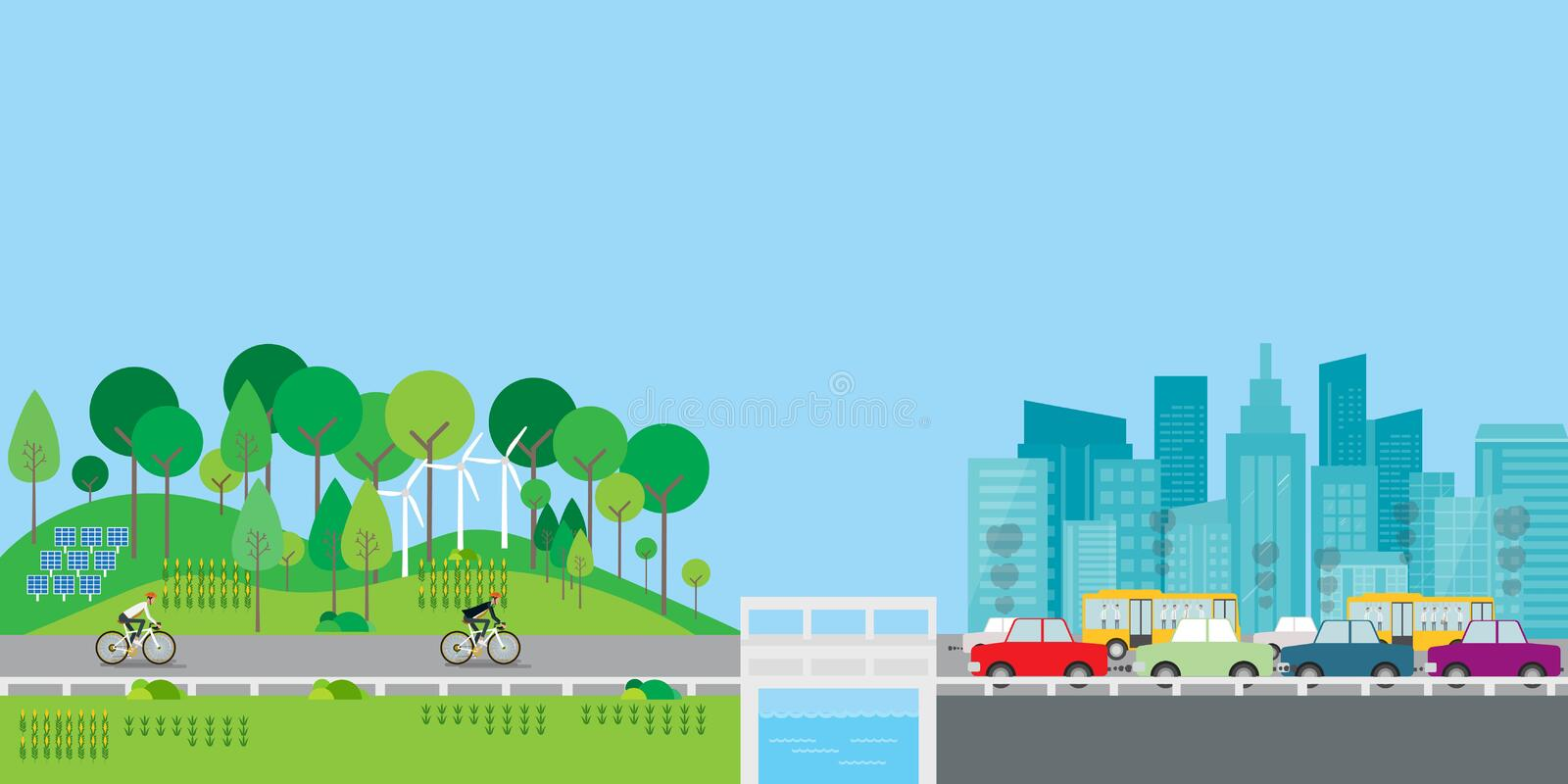Flat vector design lifestyle in countryside with big city concept. Businessman character biking on the road stock illustration