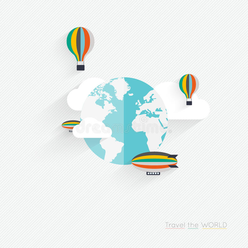 Flat vector design of the startup process, cloud storage, responsive web design, hot air balloon vector illustration