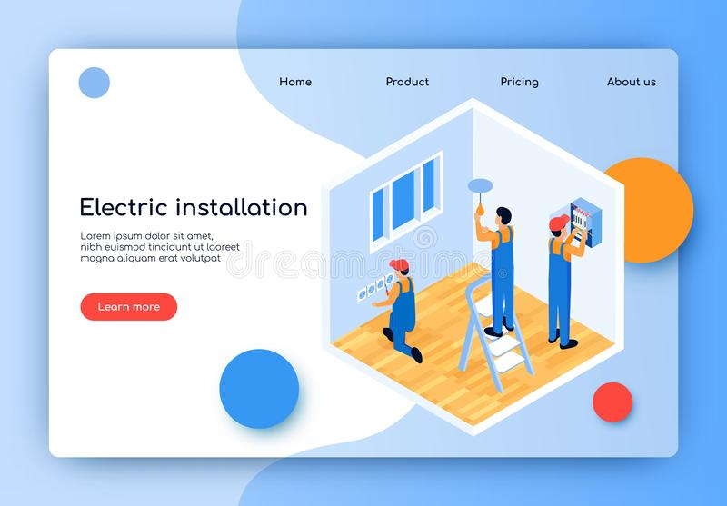 Flat Vector Electric Installation Landing Page. Male Electricians Repair and Update Electrical Wiring in Apartment. Installation and Replacement Electrical royalty free illustration