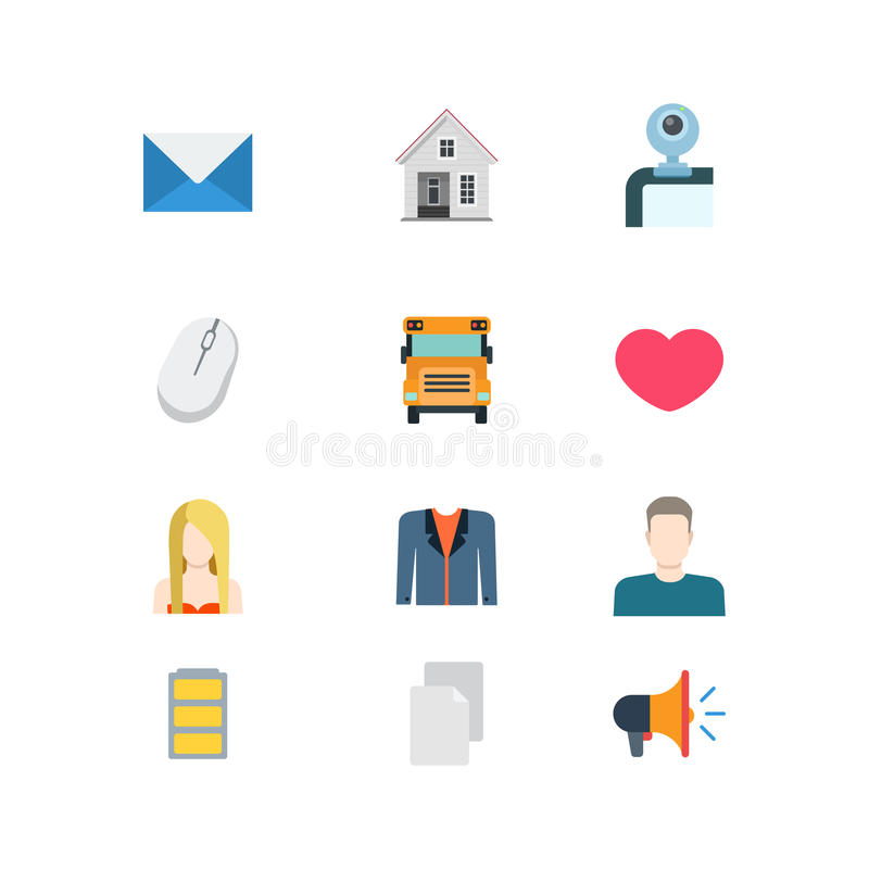 Flat vector email message school heat mobile website app icons stock illustration