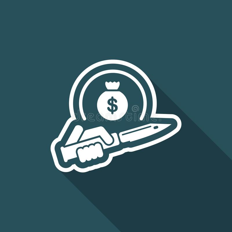 Assault to robbery. Flat and vector eps illustration icon with minimal design and long shadow royalty free illustration