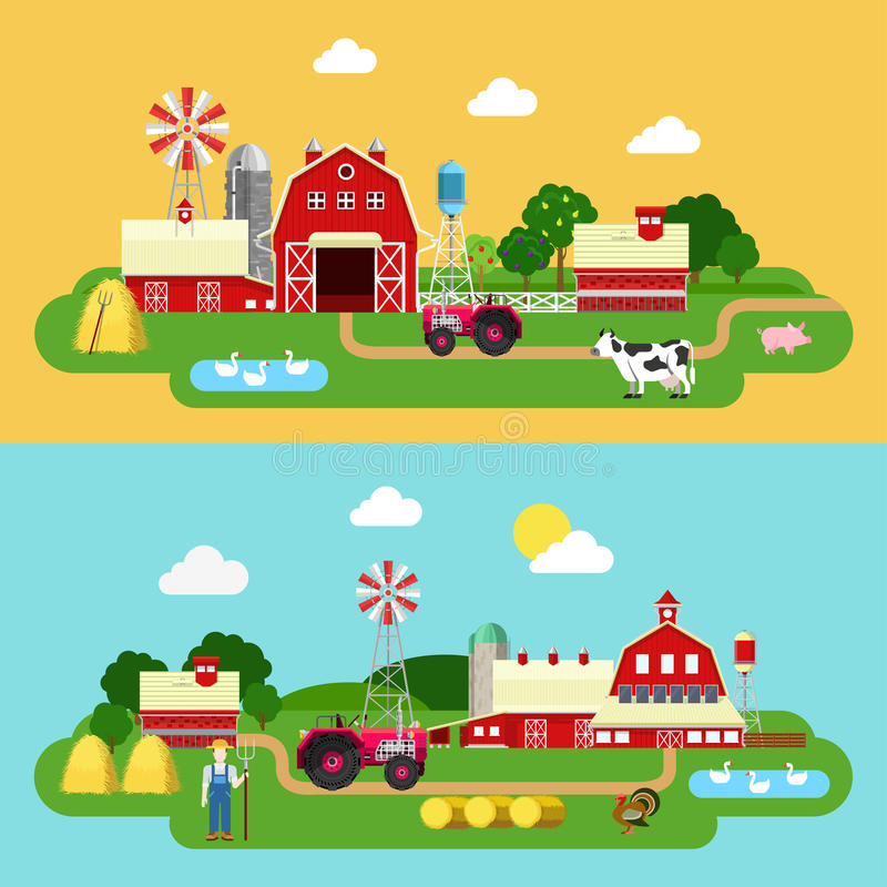 Flat vector farming agriculture banner: farm building, livestock. Flat style farm building green plants territory life outdoor banner set. Tractor cow goose stock illustration