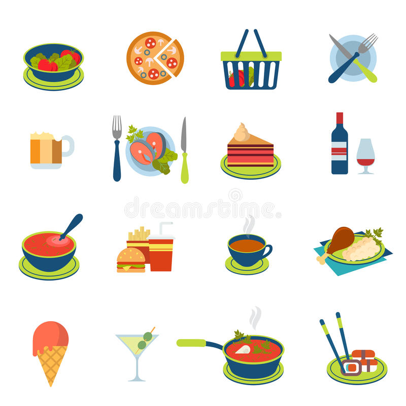 Flat vector food and drink infographic icon: restaurant menu stock illustration