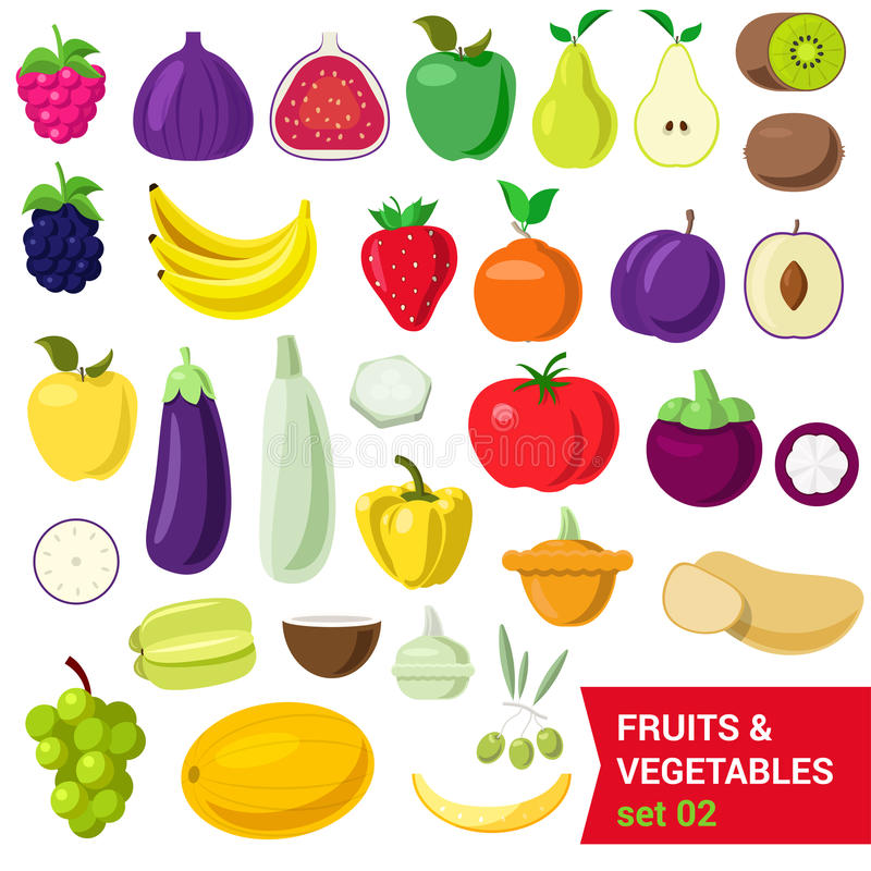 Flat vector food: fruit, vegetable, berry figs pear plum tomato stock images