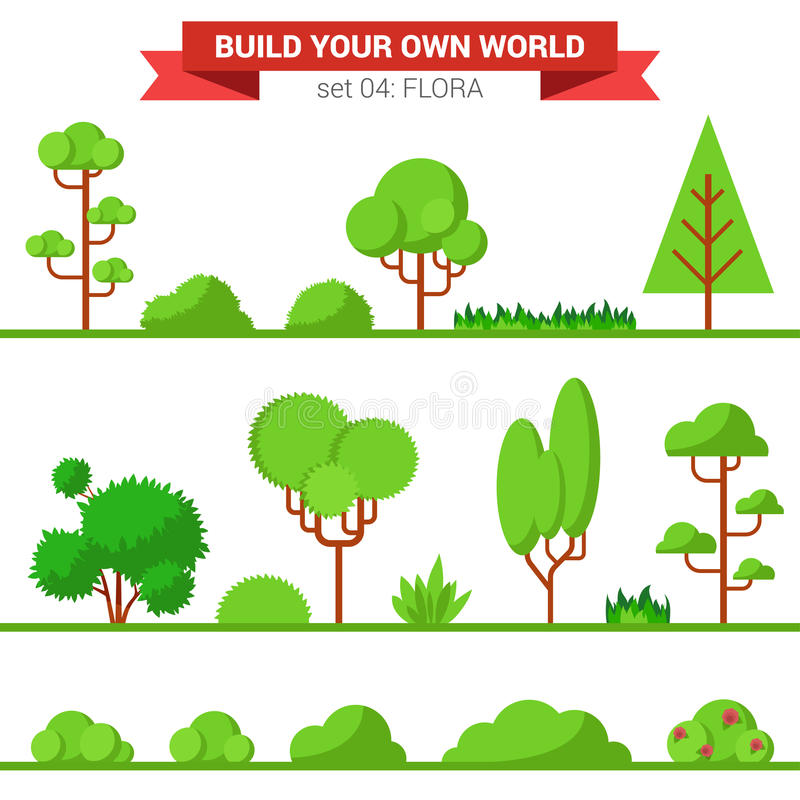 Free Flat Vector Green Flora Collection: Plant, Tree, Bush, Grass Royalty Free Stock Photos - 59052288