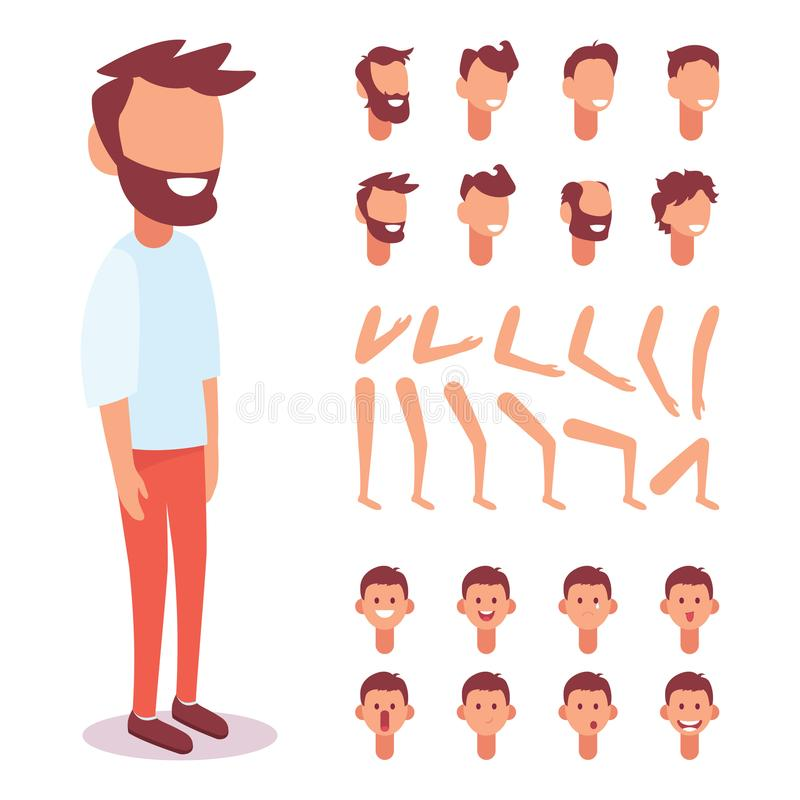 Flat Vector Guy character for your scenes. Character creation set with various views, face emotions, lip sync and poses royalty free illustration