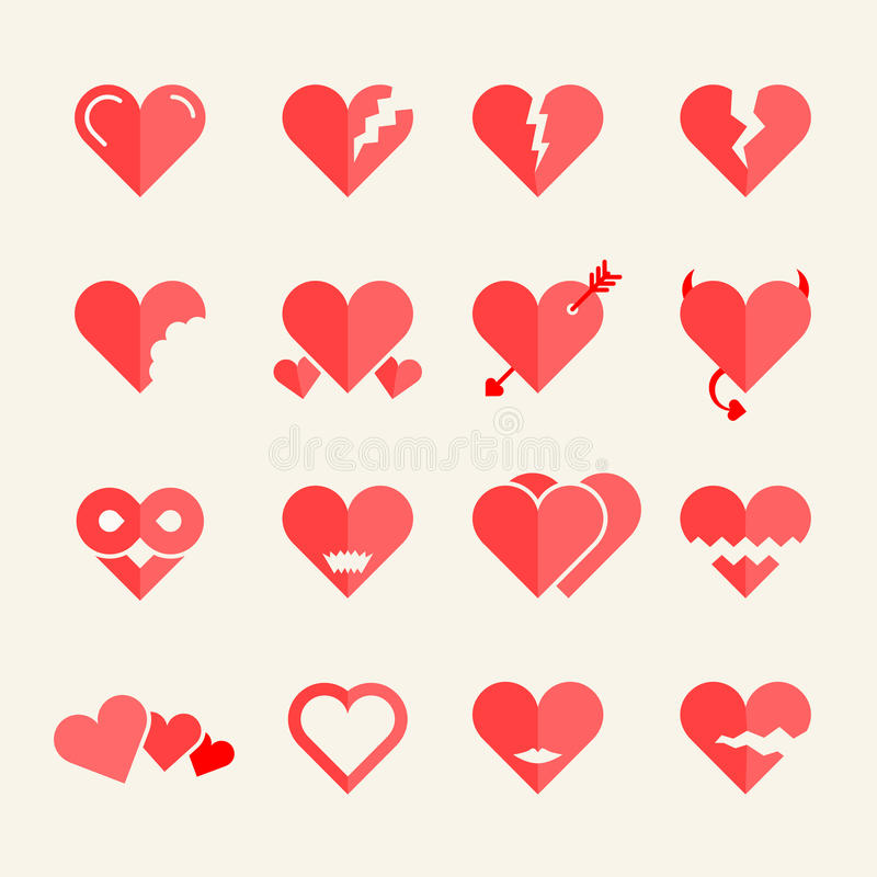 Flat vector hearts set royalty free stock images