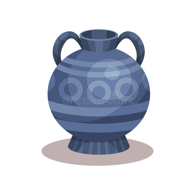 Flat vector icon of antique amphora with traditional ornament. Blue jug with two handles and narrow neck royalty free illustration