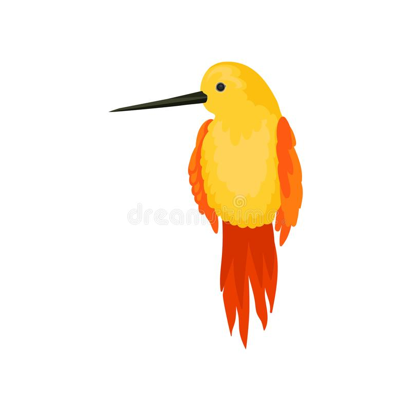 Flat vector icon of beautiful hummingbird. Yellow colibri bird with long thin beak, orange wings and tail. Wildlife and. Illustration of beautiful hummingbird stock illustration