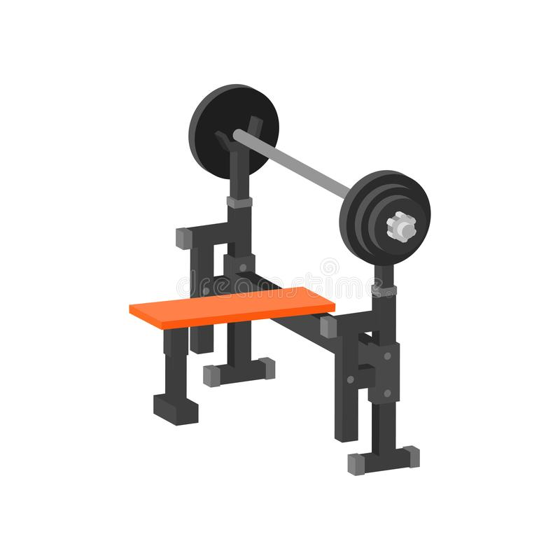 Flat vector icon of bench press machine. Gym equipment for bodybuilding and weightlifting exercises. Sport and healthy vector illustration
