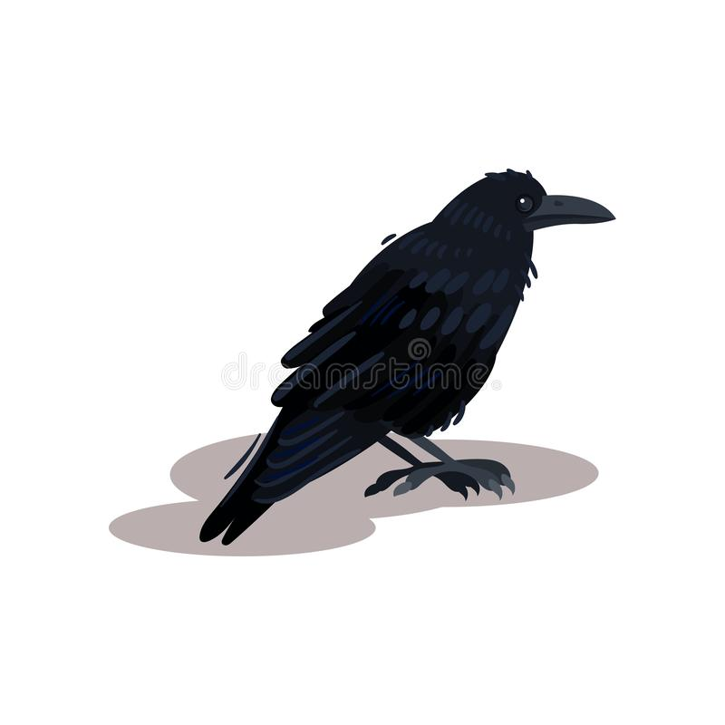 Flat vector icon of black crow raven. Bird with big beak. Divination theme. Flat vector element for book or mobile game stock illustration