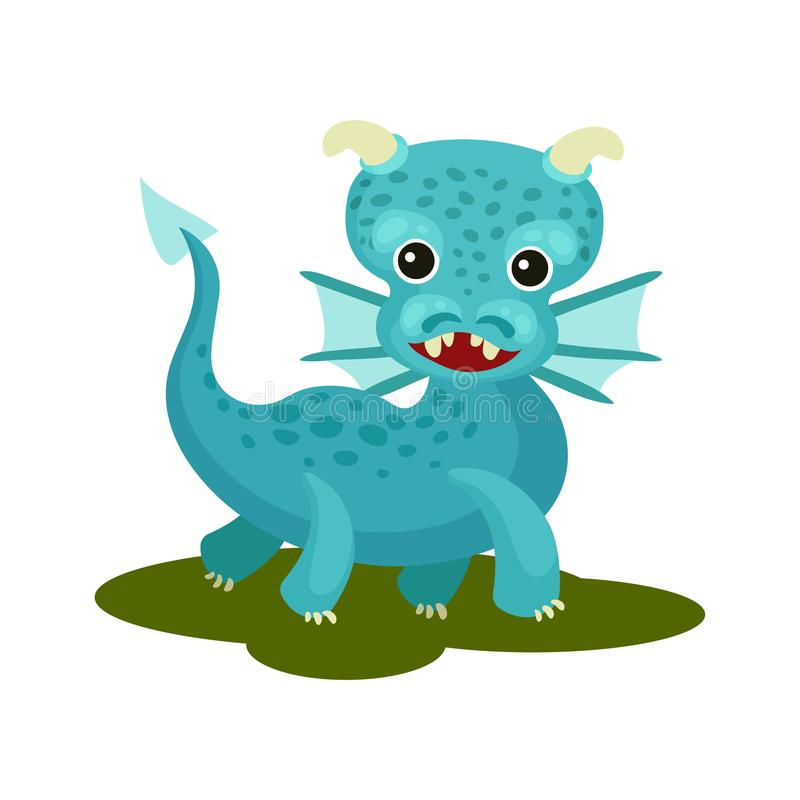 Flat vector icon of blue baby dragon with small wings, horns and long tail. Mythical creature with cute muzzle vector illustration