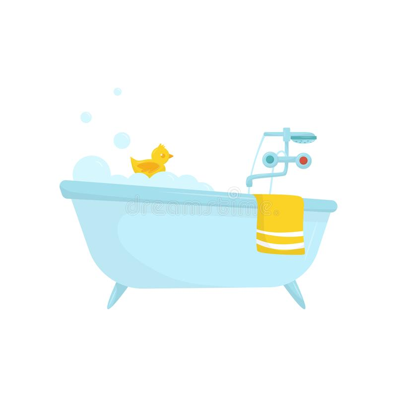 Flat Vector Icon Of Blue Bath With Soap Foam, Rubber Duck, Bright ...