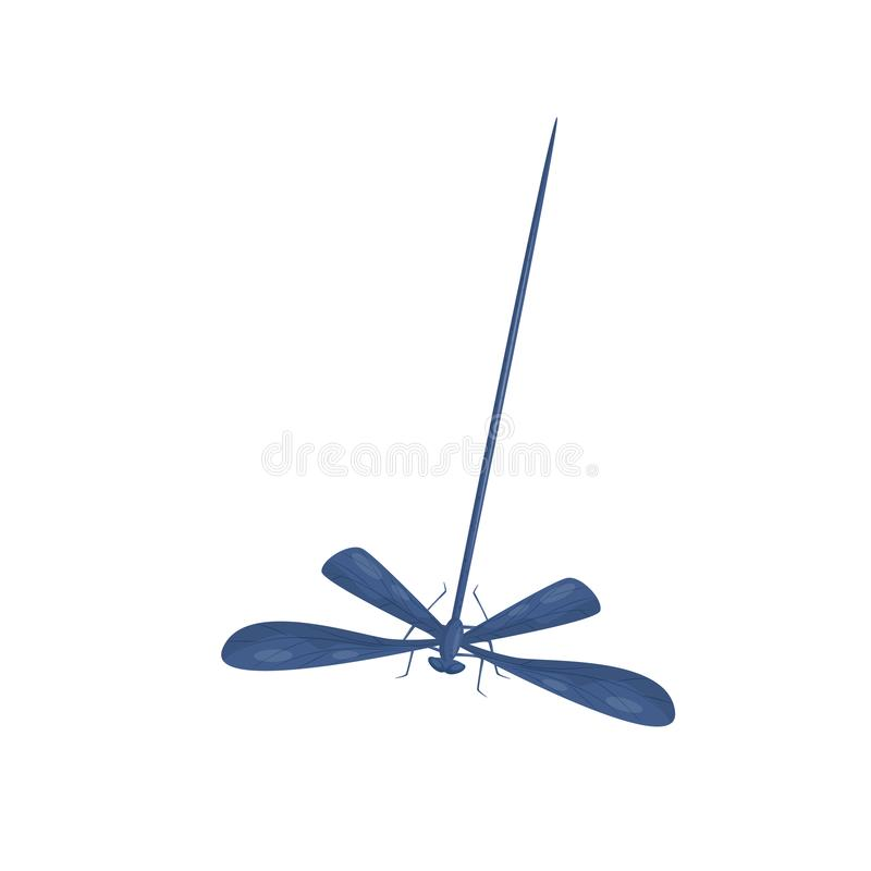 Flat vector icon of blue dragonfly. Small fast-flying insect with long body and two pairs on wings. Fauna theme. Illustration of blue dragonfly. Small fast stock illustration