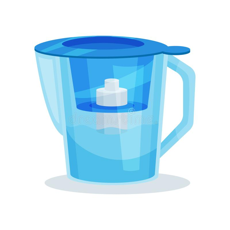 Flat vector icon of blue glass water pitcher with purifier cartridge and handle. Transparent filter jug. Kitchen utensil stock illustration