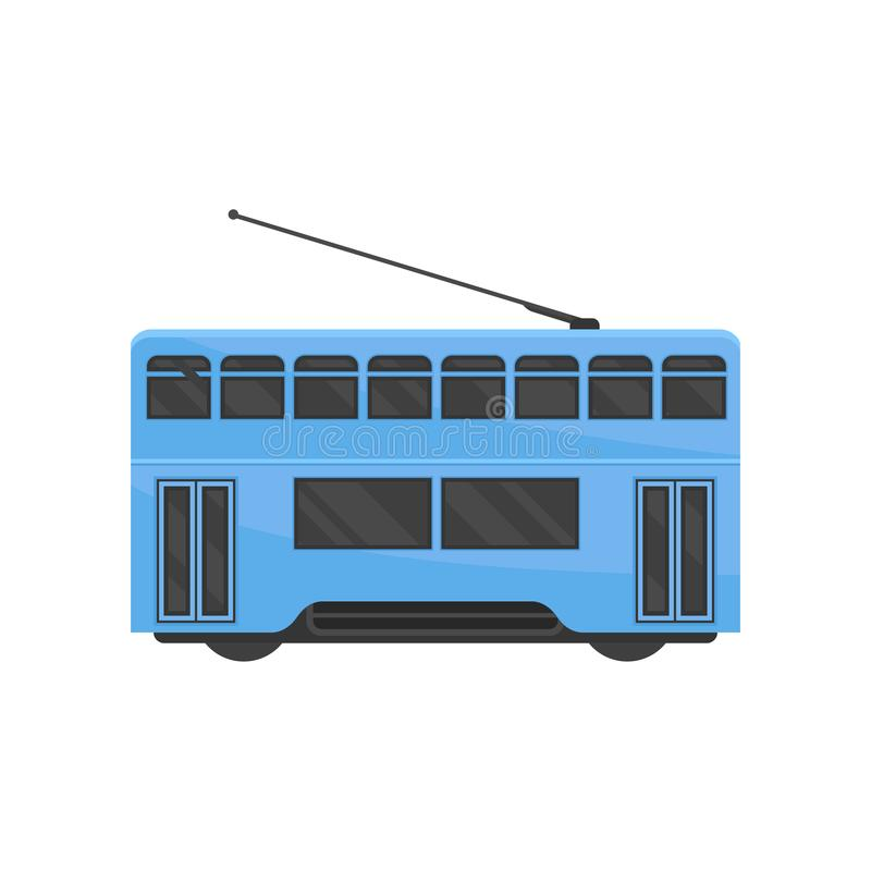 Flat vector icon of blue Hong Kong tramway. Public Chinese transport. Urban tram-train. Modern rail vehicle stock illustration