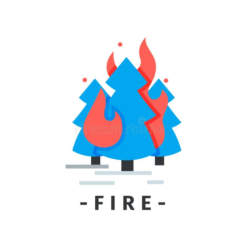 Flat vector icon with burning fir trees. Forest in fire. Emergency situation. Natural disaster. Element for infographic stock illustration