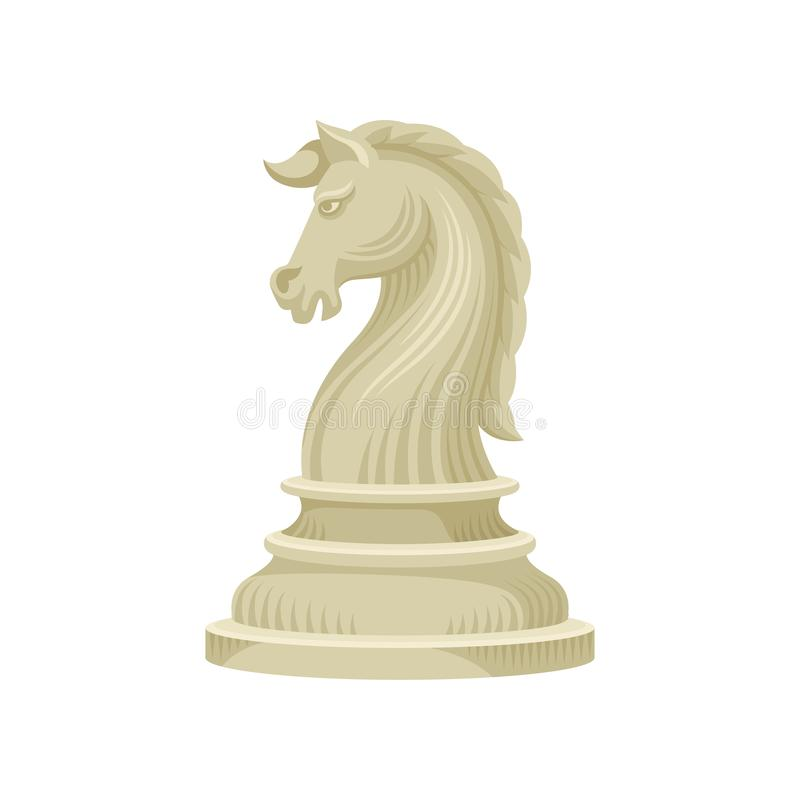 Flat vector icon of chess piece - knight horse in beige color. Wooden figurine of board game stock illustration