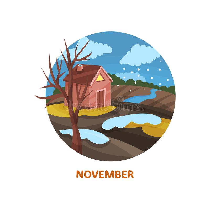 Flat vector icon in circle shape with small house, tree, river, snowy clouds and field. November month. Autumn season royalty free illustration