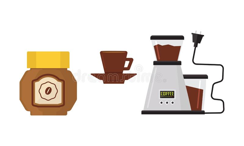 Flat vector icon of coffee maker, cup on saucer and jar of coffee beans. Kitchen appliance. Modern electric device. Coffee maker, cup on saucer and glass jar of vector illustration