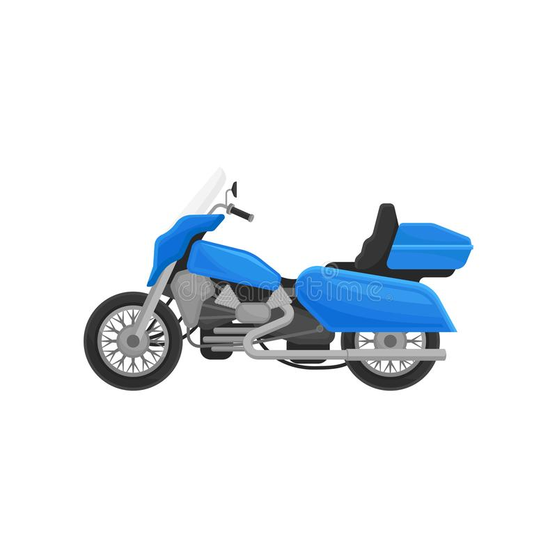 Flat vector icon of cool blue motorcycle. Two-wheeled motor vehicle. Biker chopper. Vintage motorbike royalty free illustration