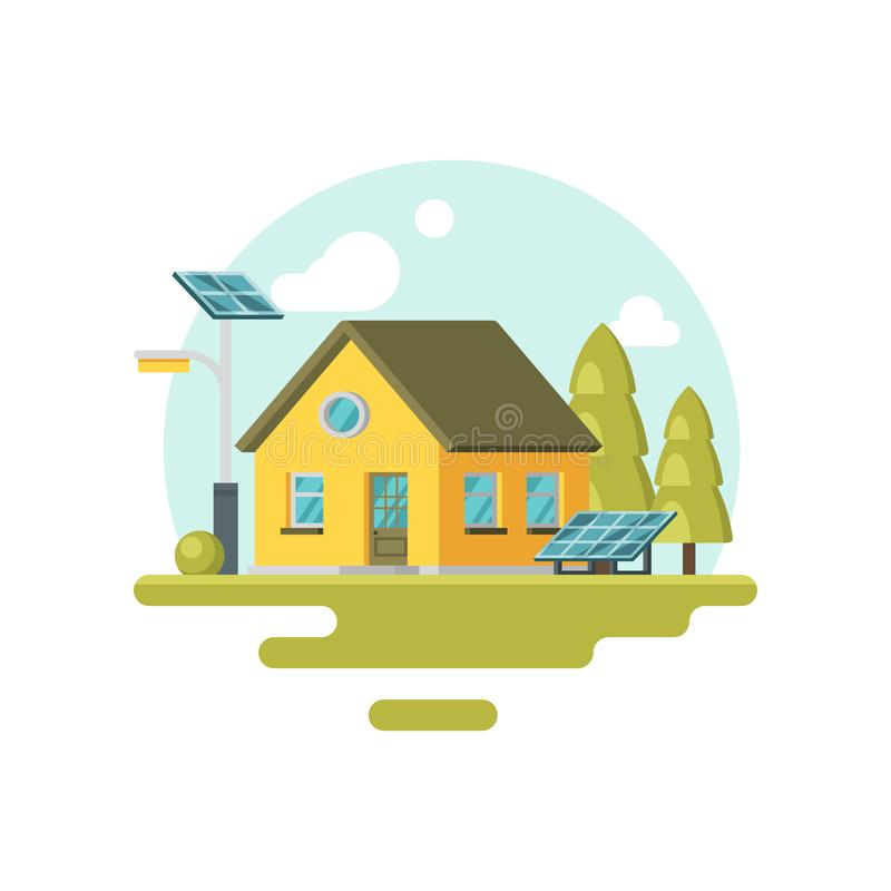 Flat vector icon of cute yellow eco house with solar panels and trees near by. Alternative energy. Family home stock illustration