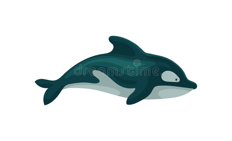 Flat vector icon of dolphin. Marine creature with fin on the back. Element for children book or greeting card stock illustration
