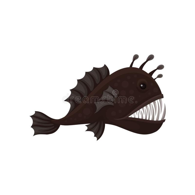 Flat vector icon of fangtooth fish, side view. Deep sea creature with big sharp teeth. Predatory marine animal royalty free illustration
