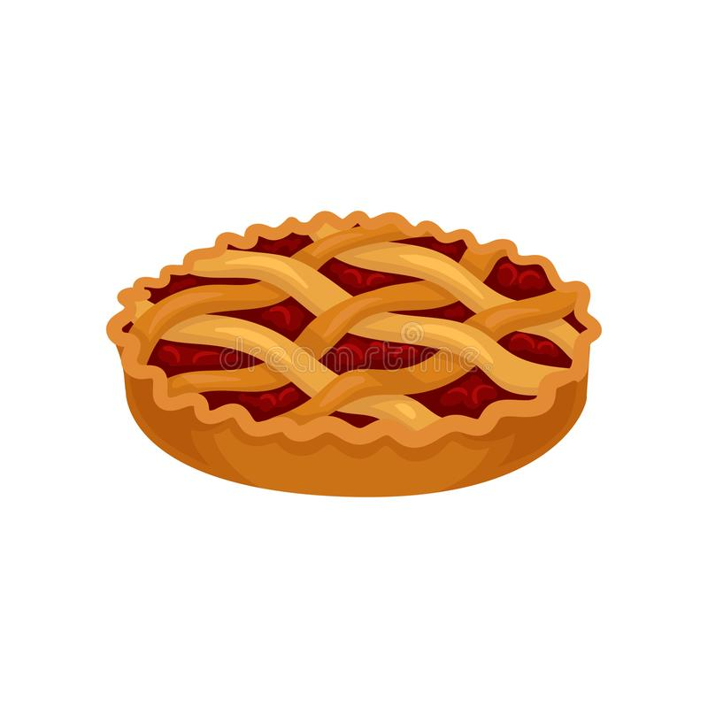 Flat vector icon of freshly baked pie with cherry filling. Sweet food. Delicious dessert. Element for promo poster of vector illustration