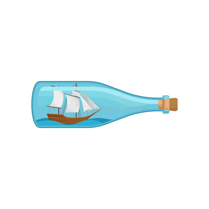 Flat vector icon of glass bottle with sea ship and water inside. Miniature model of marine vessel. Hobby and handmade. Illustration of glass bottle with sea ship royalty free illustration