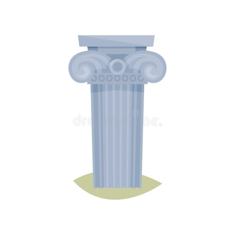 Flat vector icon of Greek column. Ancient architectural pillar. Museum symbol stock illustration
