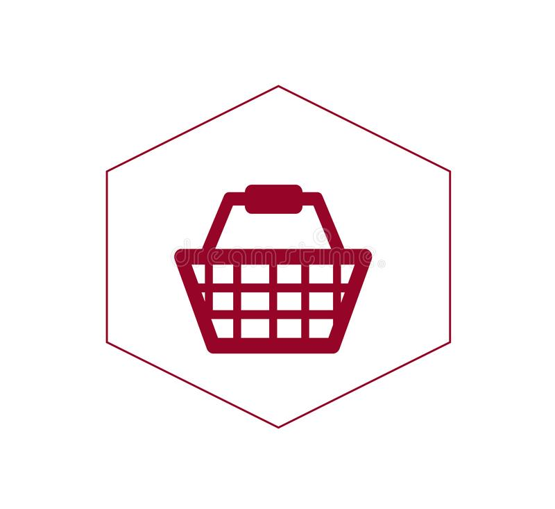 Flat vector icon of grocery basket - online shopping. stock illustration